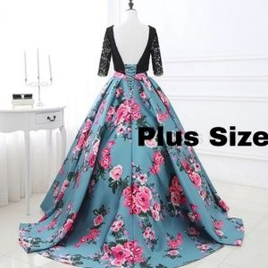 Plus Size Teal Floral Gown
